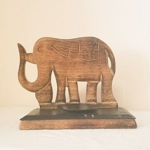 Hand Carved Wooden Elephant Candle holder